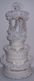 Three layer plastic canvas wedding cake